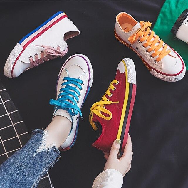 Moda mulher sapatos 2019 antumn arco íris mulher sapatos de lona moda casual retro novas sapatilhas plana rasa vulcanizada sapatos femininos
