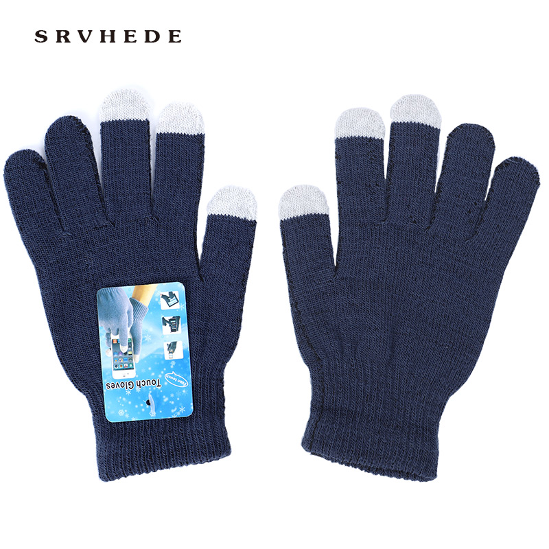 2019 New Wholesale High Quality 14 Color Unisex Winter Warmth Capacitor Knit Gloves Hand Touch Screen Smart Phone New Products