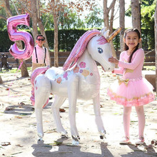 Foil Balloons Unicorn Party-Decorations-Supplies Birthday-Theme Animal Large 3D Girls