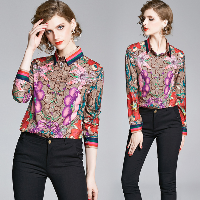 Spring Summer Fall Runway Floral Print Long Sleeve Women Casual Top Shirt Blouse
