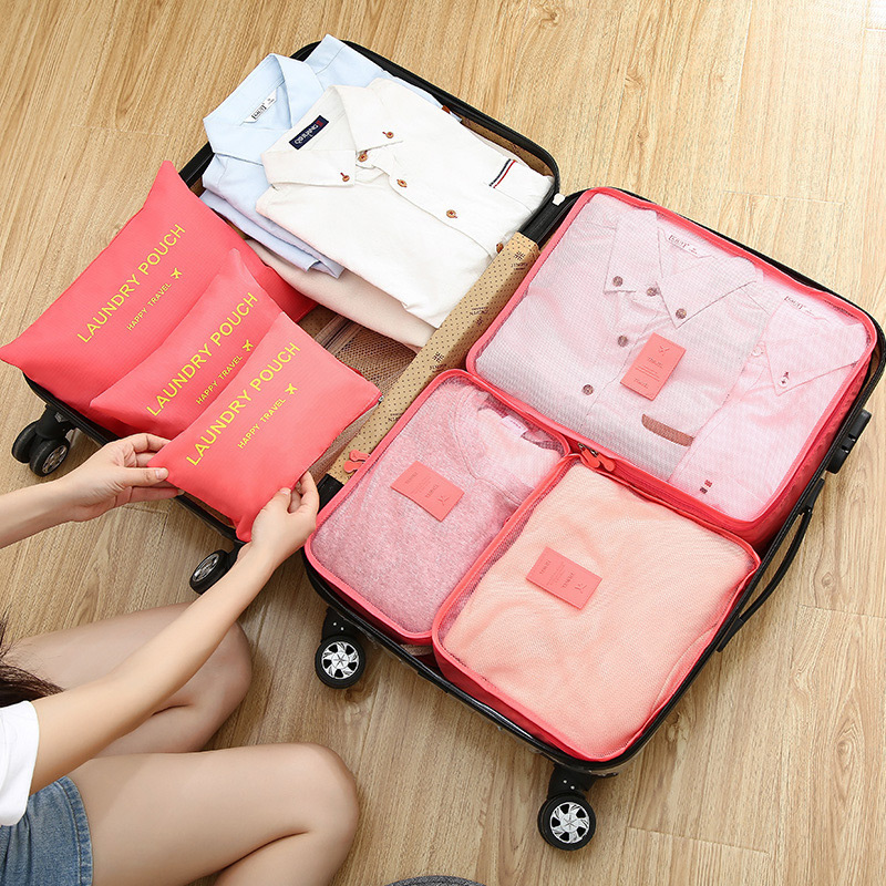 2020 Hot Selling 6Pcs Travel Clothes Storage Waterproof Bags Portable Luggage Organizer Pouch Packing Cube 5 Colors Local Stock 2