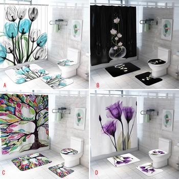 Kolorowe tulipan kwiaty lotosu drzewa zasłona prysznicowa zestawy antypoślizgowe dywaniki pokrowiec na klapę sedesu i maty do kąpieli wodoodporne zasłony łazienkowe tanie i dobre opinie Poliester Nowoczesne PLANT rb8 17bBY Ekologiczne Polyester Fiber 45 x 75 cm 17 7 x 29 5 180 x 180 cm 70 8 x 70 8 bathroom toilet room shower room etc