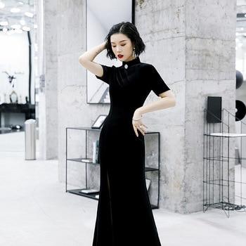 Qipao-Falda larga Retro de señora nueva de Velour para otoño, falda larga con botones de perlas, vestidos elegantes ajustados para invitados de fiesta de bodas, vestido Sexy con abertura lateral