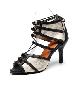 Женская обувь для латинских танцев, черная Танцевальная обувь из искусственной кожи на высоком каблуке, EU34-43