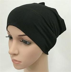 Plain underscarf cotton Muslim head coverings turban headscarf Sleeve Cap Solid Wrinkle Soft indian Inner Beanie Hat head wrap
