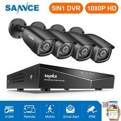 SANNCE 8CH 1080P DVR 1080P نظام الدائرة التلفزيونية المغلقة 4 قطعة 1080P 2.0MP كاميرات أمنية IR في الهواء الطلق IP66 الفيديو طقم مراقبة motion كشف