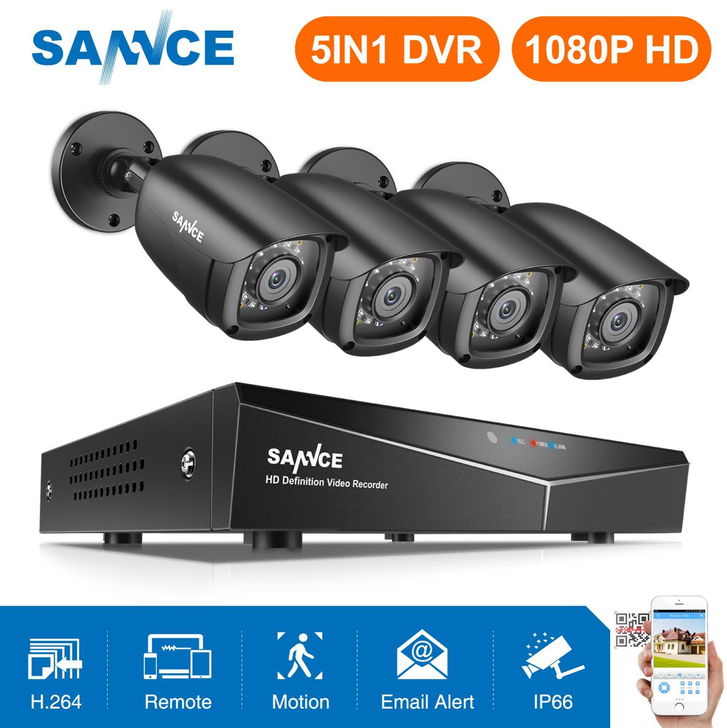 SANNCE 8CH 1080 P DVR 1080 P Sistem CCTV 4 pcs 1080 P 2.0MP Kamera Keamanan IR luar IP66 Video Surveillance kit deteksi gerak