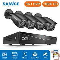 Venta SANNCE 8CH 1080P DVR 1080P Sistema de CCTV 4 Uds 1080P 2.0MP cámaras de seguridad IR al aire libre IP66 kit de videovigilancia detección de movimiento