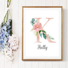 Personalized Girl's Name Sign Custom Posters And Prints Flowers Quotes Canvas Poster Nursery Wall Pictures For Baby Girl Bedroom(China)