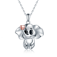 XiaoJing New 100% 925 Sterling Silver Gold Heart Cute Elephant Necklace Fine Jewelry for Mother Gift Free shipping Top sale