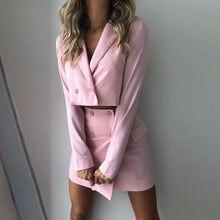 Traje de 2 piezas de otoño para mujer, Blazer de manga larga + miniconjuntos de ropa de calle para mujer de oficina, traje de 2 uds, Vestidos de fiesta