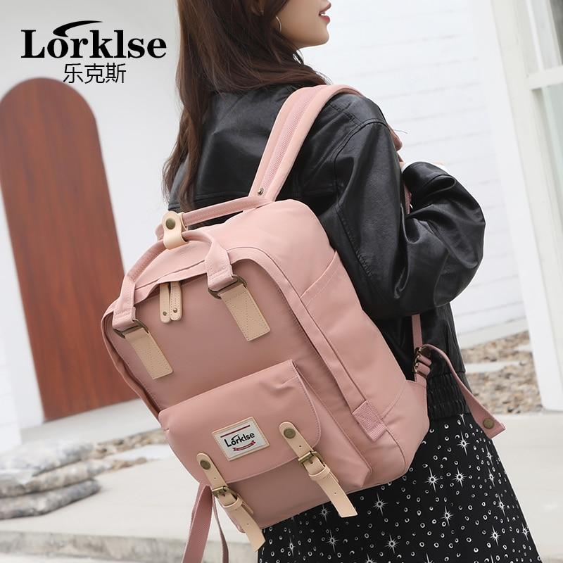 New Waterproof Canvas Kids Backpack Girls For Middle School Students Travel Shoulder Backpacks Children Solid Color Travel Bag