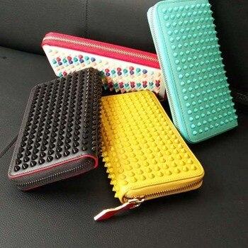 Fashion Women Genuine Leather Bag Color Rivet Long Wallet Card Money Holder Clutch Purse Designer Wallets Phone Pocket