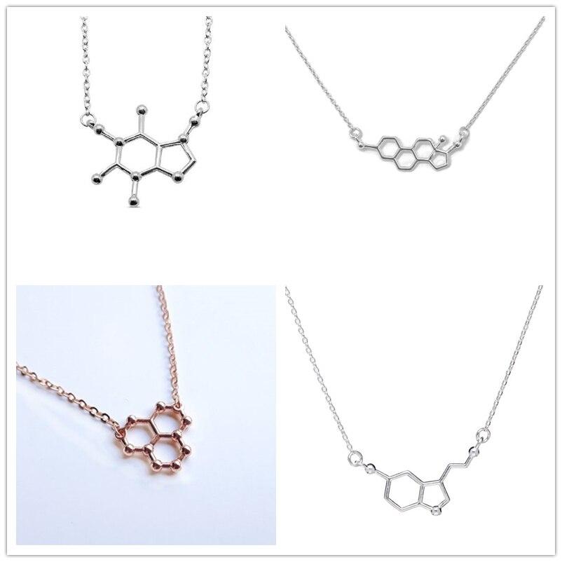 Serotonin Caffeine Estrogen Water Resveratrol Molecule Necklaces