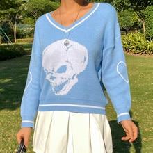 YICIYA 2020 Automne Y2K Pulls Crânes Pulls Col en V Tricots Lâche Décontracté Tricoté Hauts Femmes Streetwear E-Hauts Pour Filles Hauts Bleu