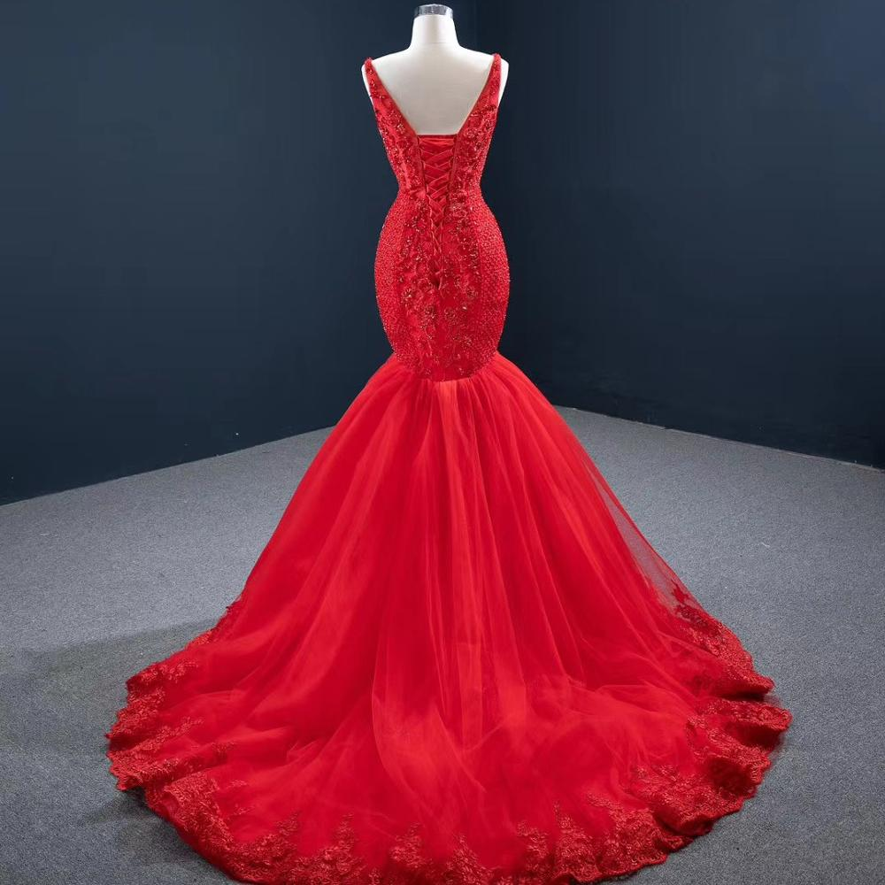 DD JYOY Ultra Luxury Beads Red Mermaid Evening Dress Long 2020 Sexy See Through Neck Fancy Beaded Elegant Evening Gown Lace Up