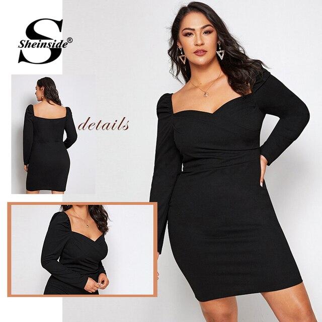 Sheinside Plus Size Black Elegant Sweetheart Neck Pencil Dress Women 2019 Autumn Puff Sleeve Bodycon Dresses Ladies Midi Dress 5