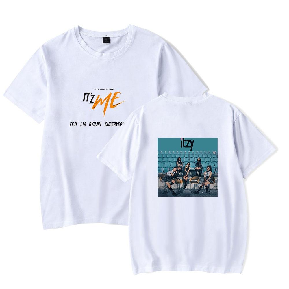 New Women's Clothing Design ITZY T-shirt Short Sleeve Ladies T Shirt Street Print ITZY White Casual Cotton Harajuku Girls Tshirt