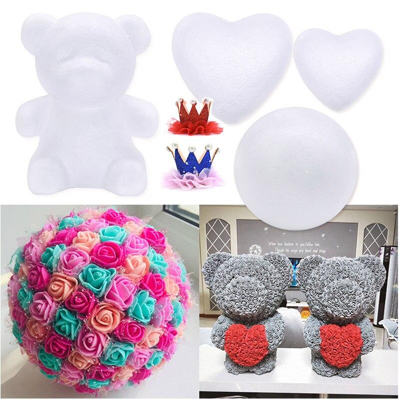 1Pc Polystyreen Piepschuim Foam Ball Diy Rose Beer Wit Mold Handgemaakte Craft Party Decoraties Bruiloft Nieuwe Jaar Valentines Gift