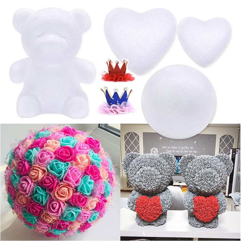 1pc Polystyrene Styrofoam Foam Ball DIY Rose Bear White Mold Handmade Craft Party Decorations Wedding New Year Valentines Gift