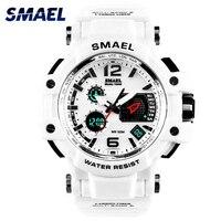 SMAEL-reloj deportivo para hombre, cronómetro Digital de manos luminosas, resistente al agua hasta 50M, color blanco, 1509