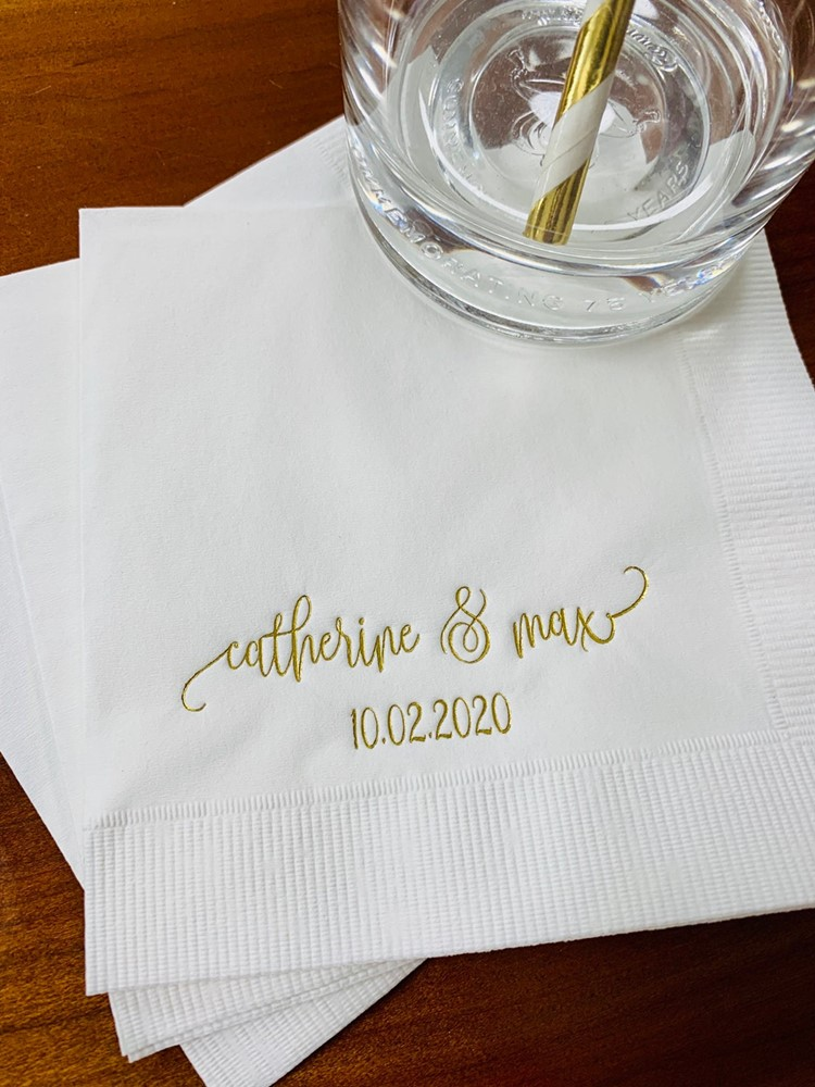 Custom text Beverage Avail! Personalized Wedding Engagement Bridal shower Beverage Cocktail Luncheon Dinner Guest Paper Napkins