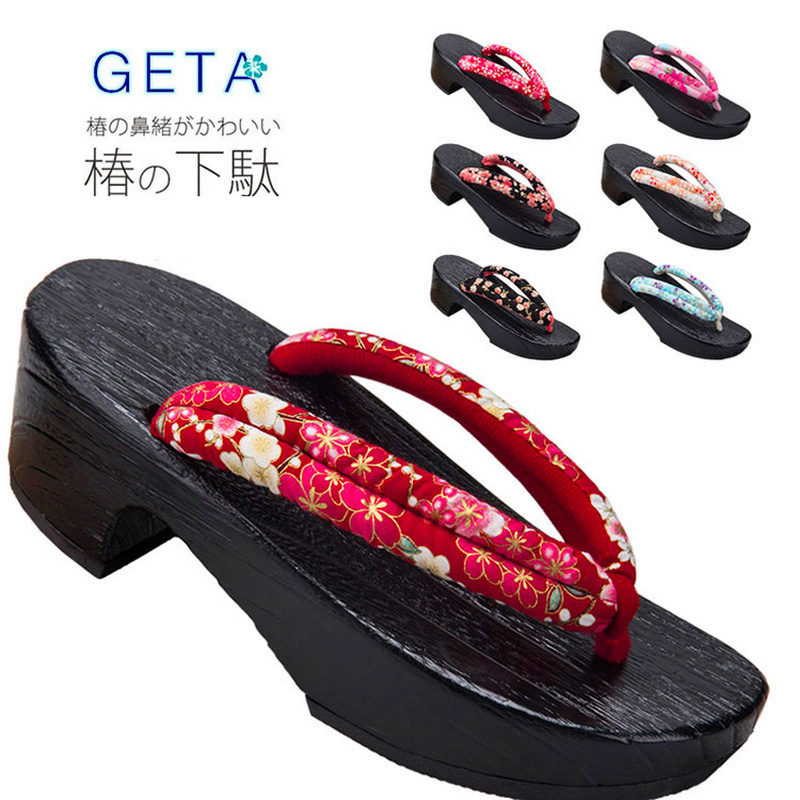 Women Anime Cosplay Japanese Flip Flops Traditional Kimono Wooden Shoes Oriental Geta Clogs Floral Sandals Sauna Spa Toe Slipper