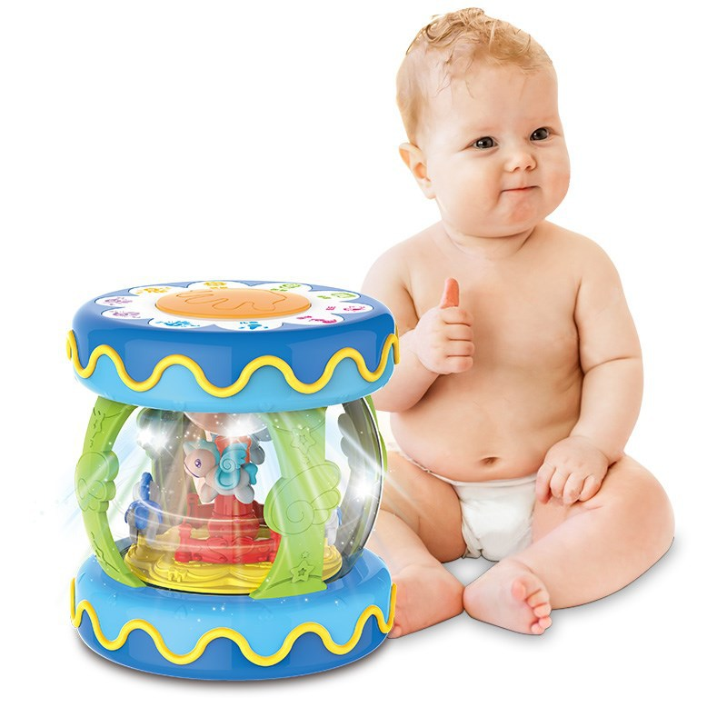 Children Multi-functional Educational Music Drum Light Included Light Merry-go-round Music Box-Connection Mobile Phone Cross Bor