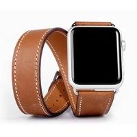 Doppel Tour Strap für Apple uhr band 44mm/40mm 42mm/38mm Echtes Leder armband gürtel armband iWatch serie 5 4 3 se 6 band