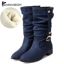Купить с кэшбэком Haoshen&Girl Big Size 28-52 Shoes Women Half Snow Boots Warm Autumn Winter Riding Boot Wind Quality Leather Heels Women Botas