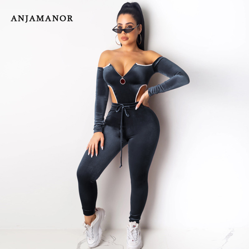 ANJAMANOR Velvet Two Piece Set Top And Pants Bodysuit Leggings Sexy Women Clothes 2020 Winter Tracksuit Matching Sets D30-AE16