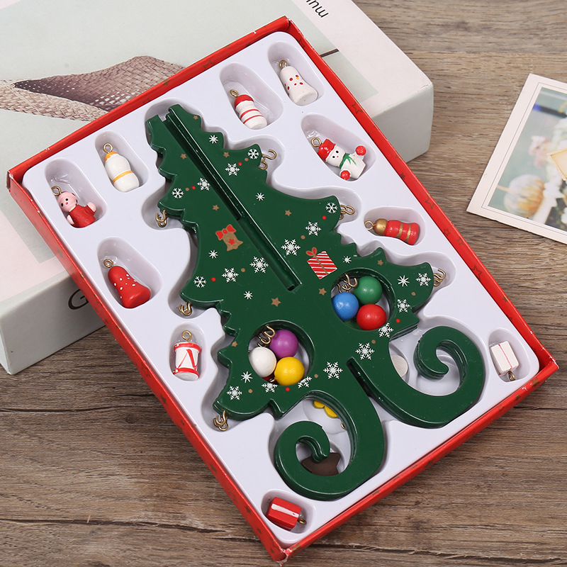 6 Pieces Of Wood Christmas Tree Children's Handmade DIY Stereo Christmas Tree Scene Layout Christmas Decorations Ornaments QW249 (5)