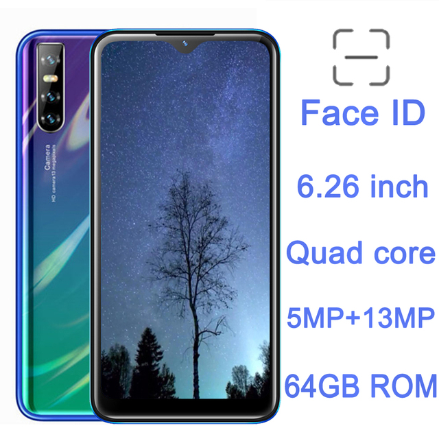 6.26'' Note9 Pro 13MP Smartphones Water Drop Screen Unlocked 4G RAM 64G ROM Face ID Recognition Android Mobile Phones Cell Phone 1