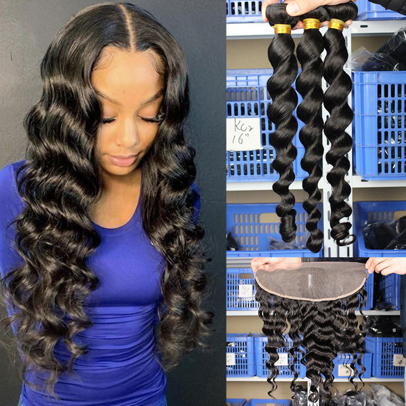 Ever Beauty 3 Human Hair Bundles With 13x4 Lace Frontal Closure 4Pcs/Lot Brazilian Loose Wave Virgin Hair Bundles With Closure