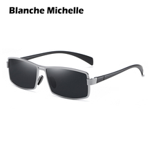 Blanche Michelle Rectangular Sunglasses Men Polarized UV400 Sun glasses For Driving Vintage oculos masculino With Box