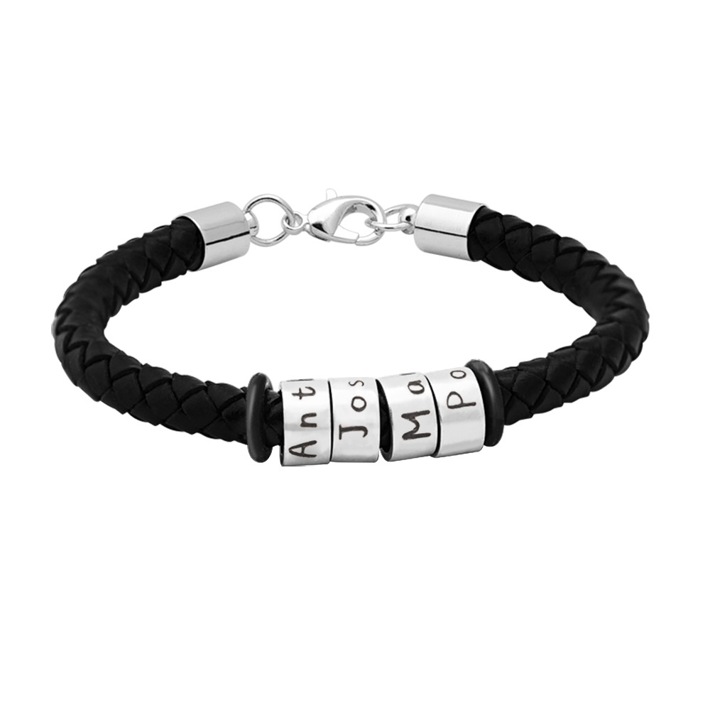 Customized Man Bracelet Engraved Family Names Braided Rope Bracelet Steel Beads Bangles For Dad Boyfriend Husband
