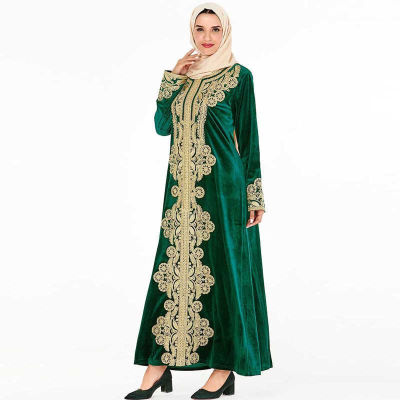 Vestidos de inverno Veludo Abaya Árabe Dubai Vestido Dos Muçulmanos Hijab Caftan Kaftan Marrocos Robe Musulmane Tesettur Elbise Vestidos de Peru