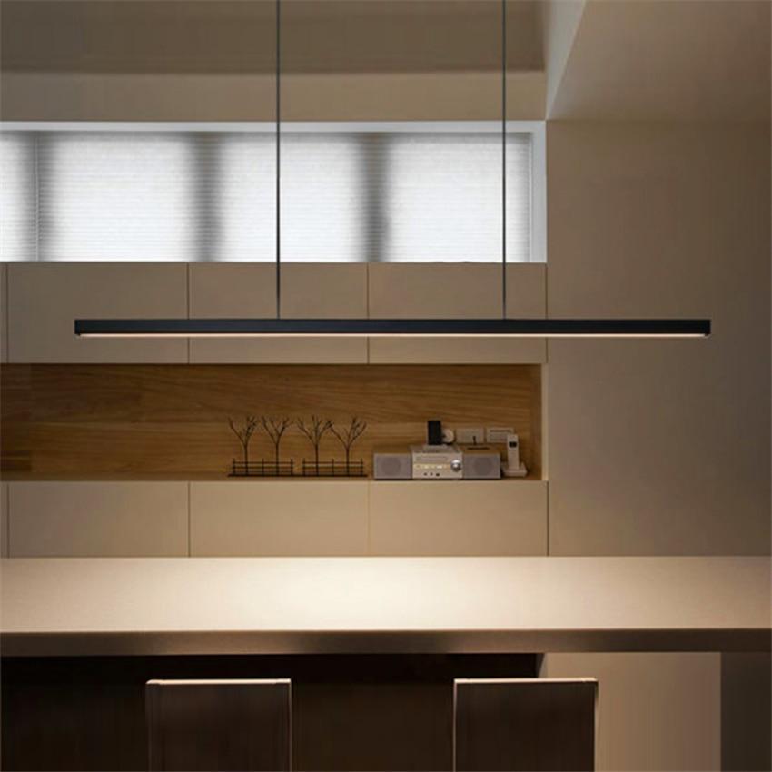Modern Minimalist LED Aluminum Pendant Iights Lighting Modern Long Wood LED Pendant Lamp Restaurant Study Bedroom Deco Luminarie