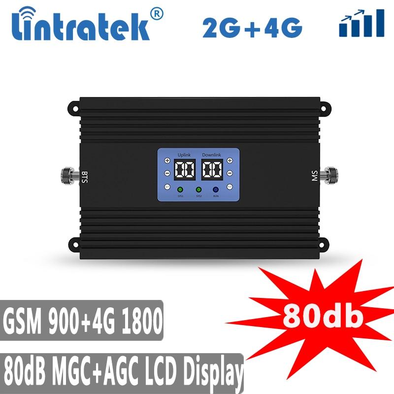 Lintretek 80dB 900Mhz GSM Repeater 4G 1800 AGC MGC Signal Booster Dual Band 900 1800 Ampli 4G 2G GSM DCS Amplifier KW25A-GD