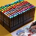 30/40/80/168 Цвет товары для рукоделия маркер для рисования маркеры манга рисование на спиртовой основе эскиз фломастера жирной две ручки с кист...