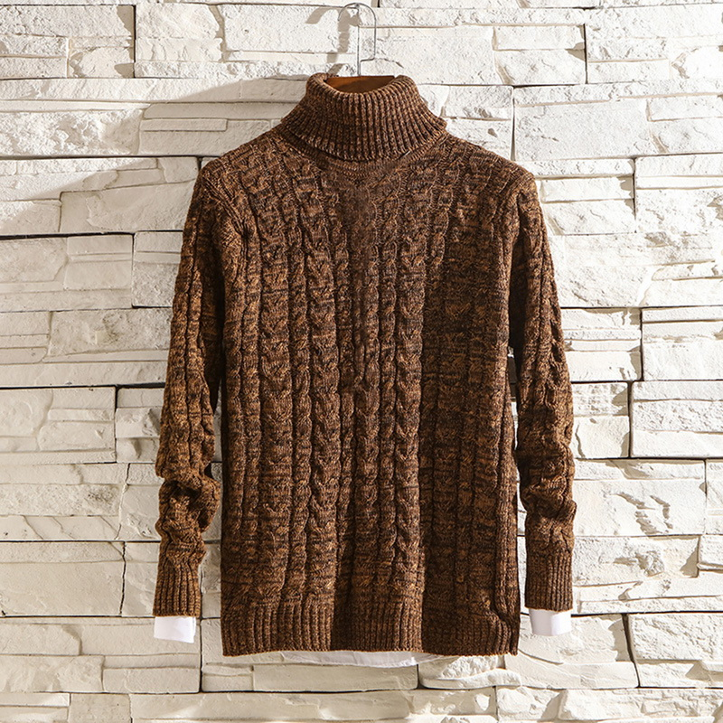 Puimentiua Winter High Neck Thick Warm Sweater Men Turtleneck Brand Mens Sweaters Slim Fit Pullover Men Knitwear Male
