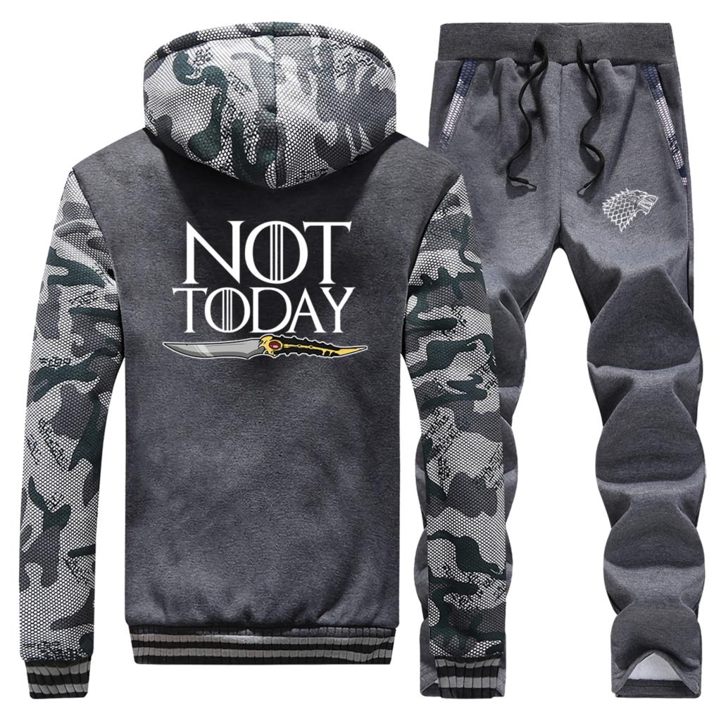 NOT TODAY Print Hoodies Men Thick Sweatshirt Fleece Tracksuit Winter Warm Zipper Jacket+Pant 2PC Set Mens Sports Suit Outdoor
