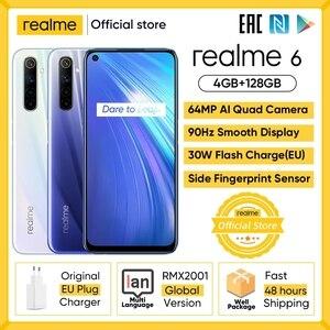 Realme 6 мобильный телефон Глобальная версия 4 Гб Оперативная память 128 Гб Встроенная память Мобильный телефон на процессоре Helio G90T 30 Вт мгновен...