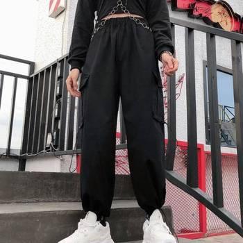 Hip Hop Solid Cargo Pants Women Black High Waist Pocket Trousers Streetwear Womens Joggers Sweatpants Autumn Dance Pants Girls 1