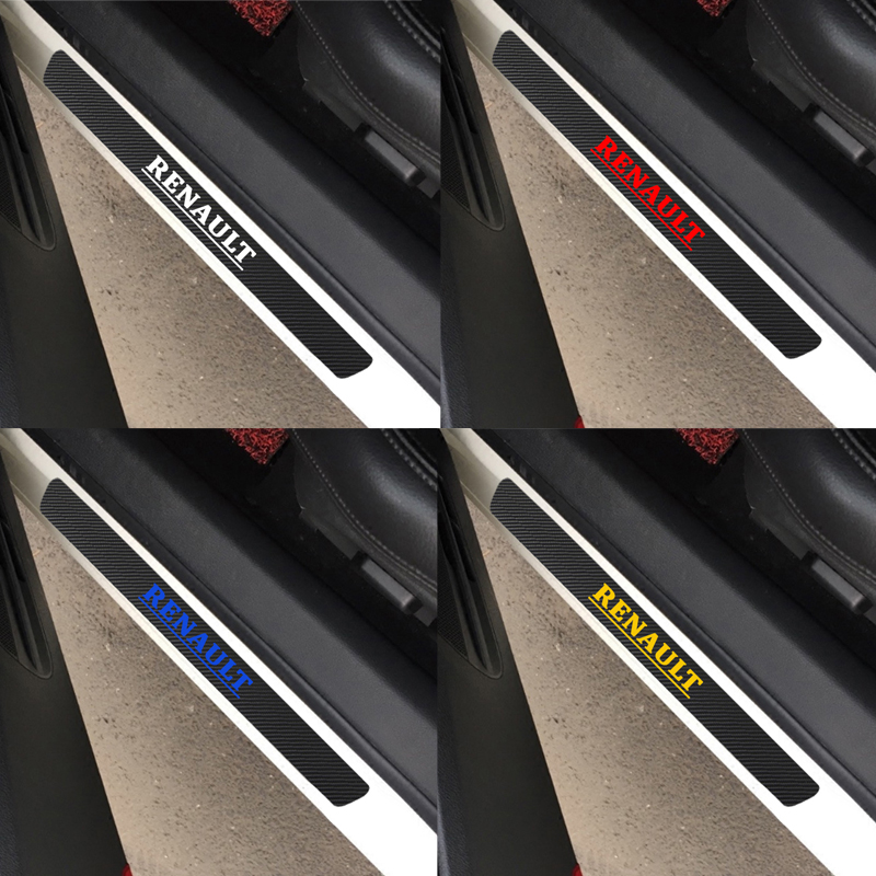 Car Styling Carbon Fiber Door Sill Scuff Plates For Renault Scenic Laguna Captur Megane 2 3 Fluence Latitude Car Accessories