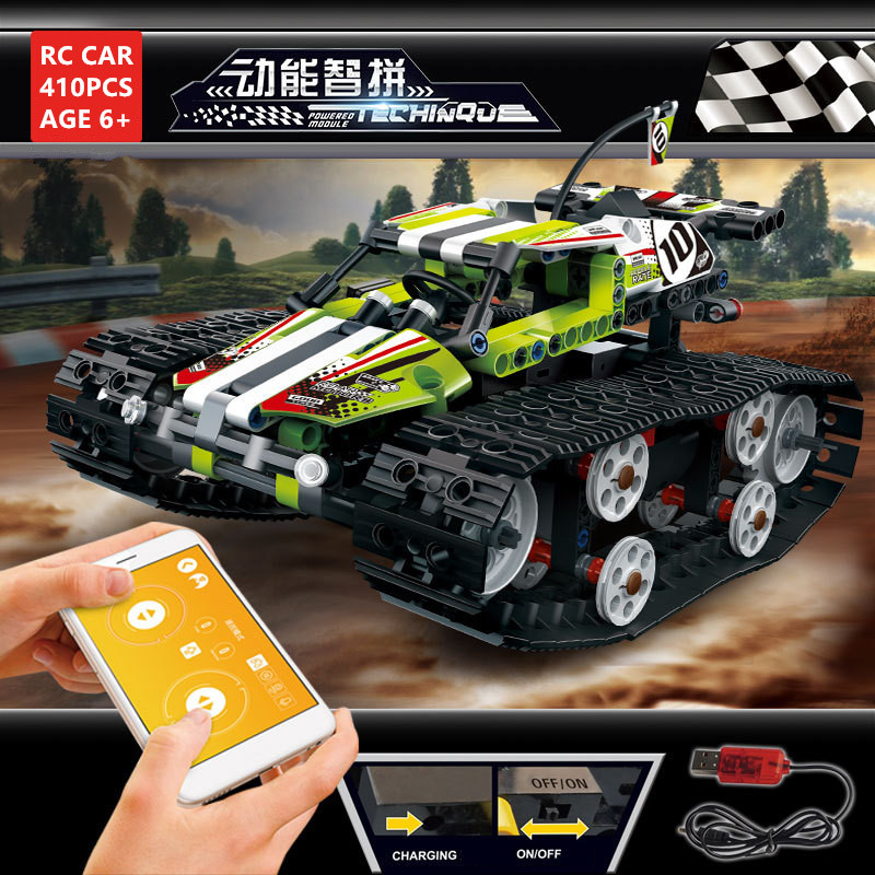 Technic RC Car Tracked Race Stunt Car Building Blocks Sets APP Raido Remote Control Truck Brinquedos Toys For Children