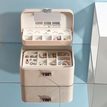 Casegrace גדול אוטומטי תכשיטים עם מנעול מעולה שלוש שכבה עור עגילי אחסון ארון נייד אופנה אריזת מתנה