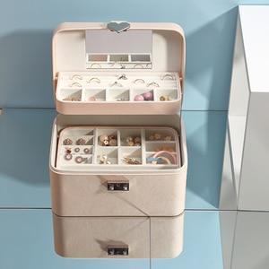 Image 1 - Casegrace גדול אוטומטי תכשיטים עם מנעול מעולה שלוש שכבה עור עגילי אחסון ארון נייד אופנה אריזת מתנה