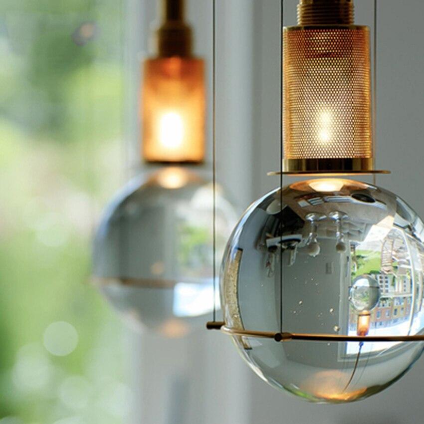 American LED Iron Art Crystal Ball Pendant Lights Lighting Modern Retro Cafe Bar Living Room Lamp Bedroom Decor Light Fixtures