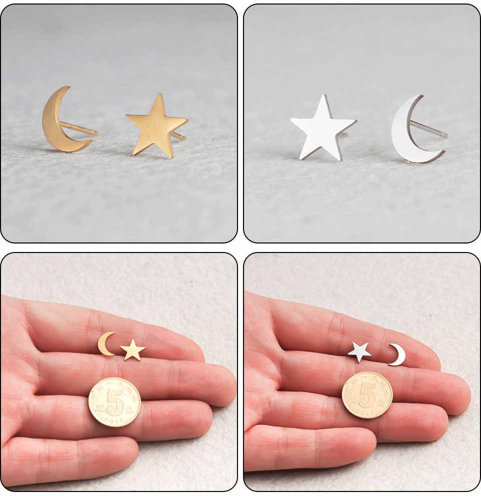 Mutiple минималистичный модный золотистый Серебристый с розой серьги-гвоздики для женщин Ювелирная диадема Кошка Луна животные подарок для девочки оптом